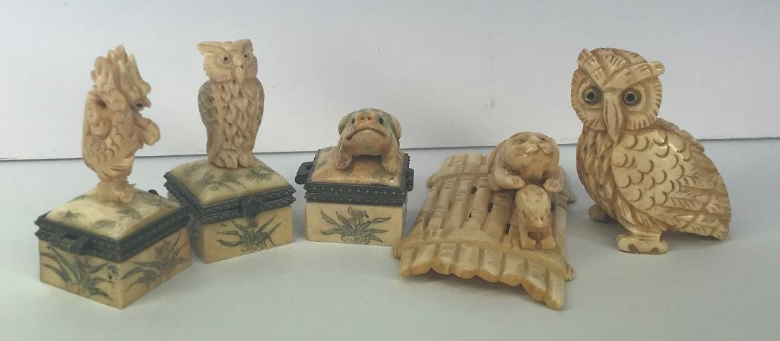 Set of 5 hand carved animal figures