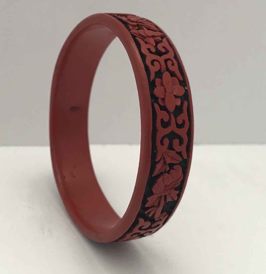 Vintage Antique Chinese Cinnabar Bracelet hand carved