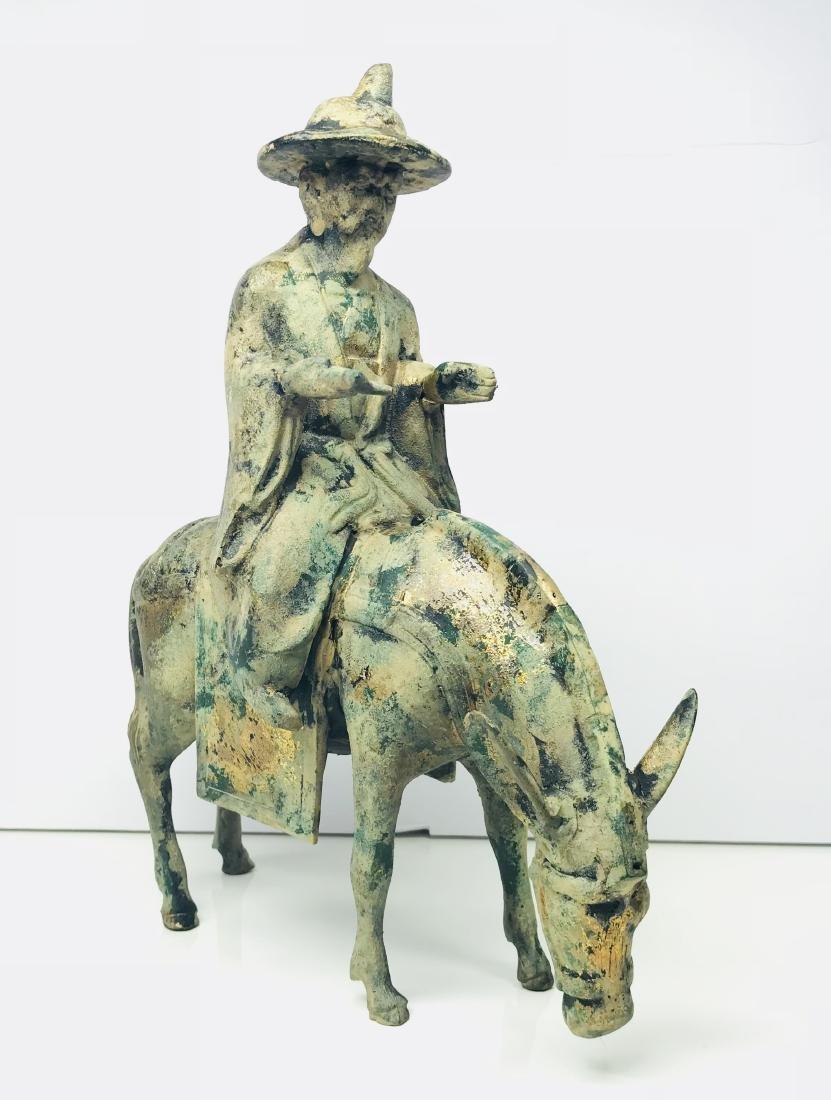 Antique Cast Iron Wise Man Scholar Rider Donkey