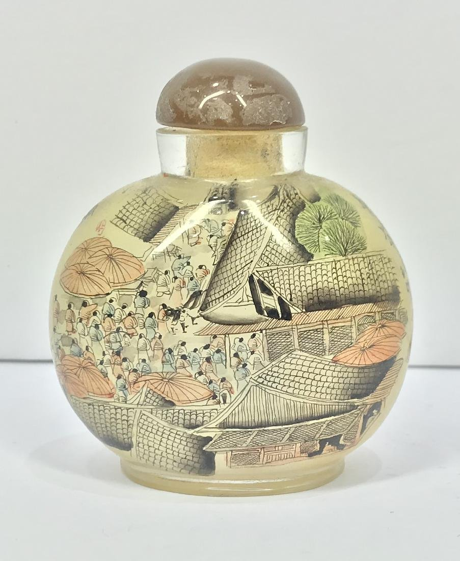 Vintage China Glass Inside Painting Snuff Bottle - 2