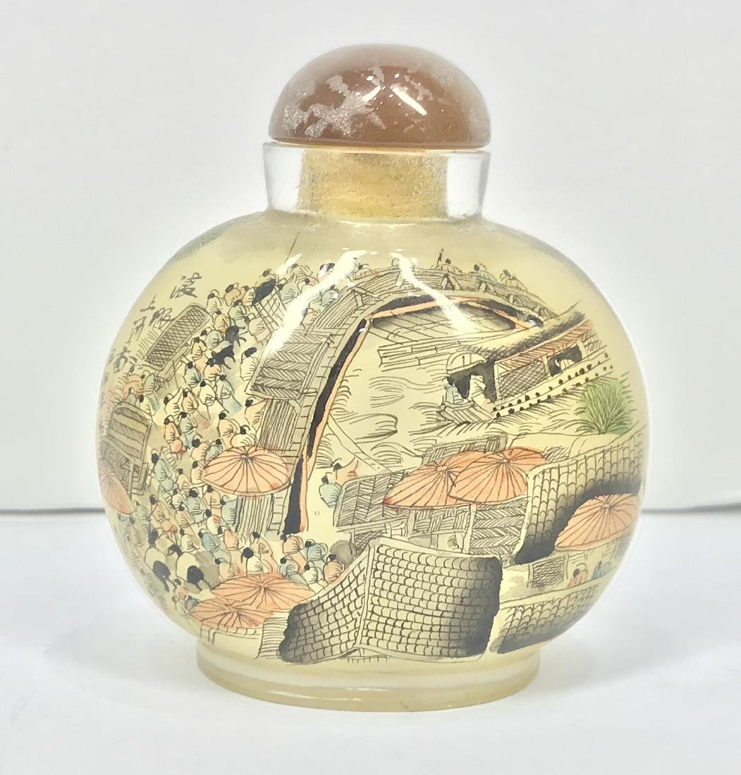 Vintage China Glass Inside Painting Snuff Bottle - 3