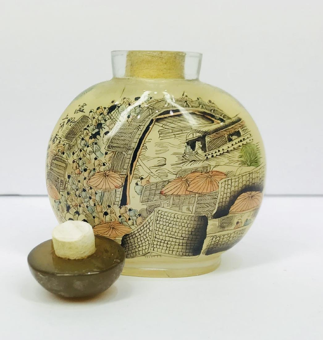 Vintage China Glass Inside Painting Snuff Bottle - 5
