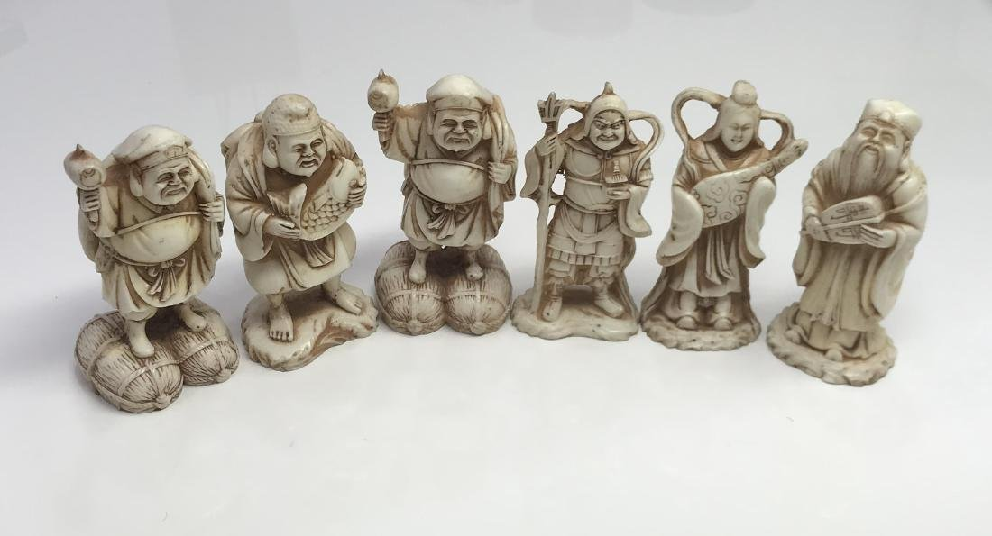 Chinese hand carved 6 figure buddha