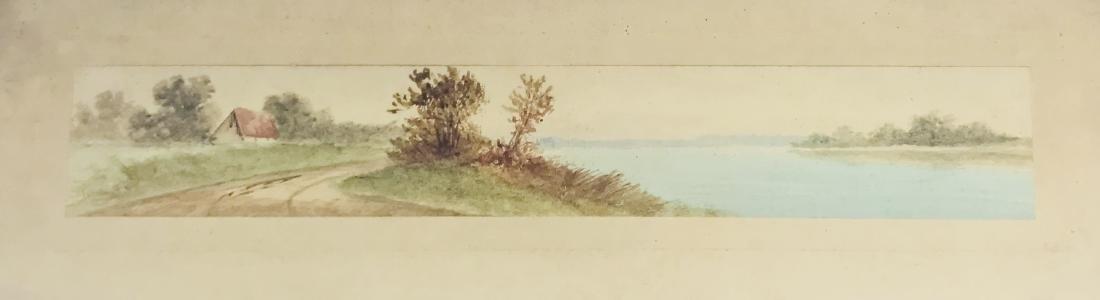 Antique Watercolor lascape signed