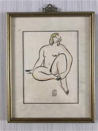 Watercolor on paper signed Sanyu