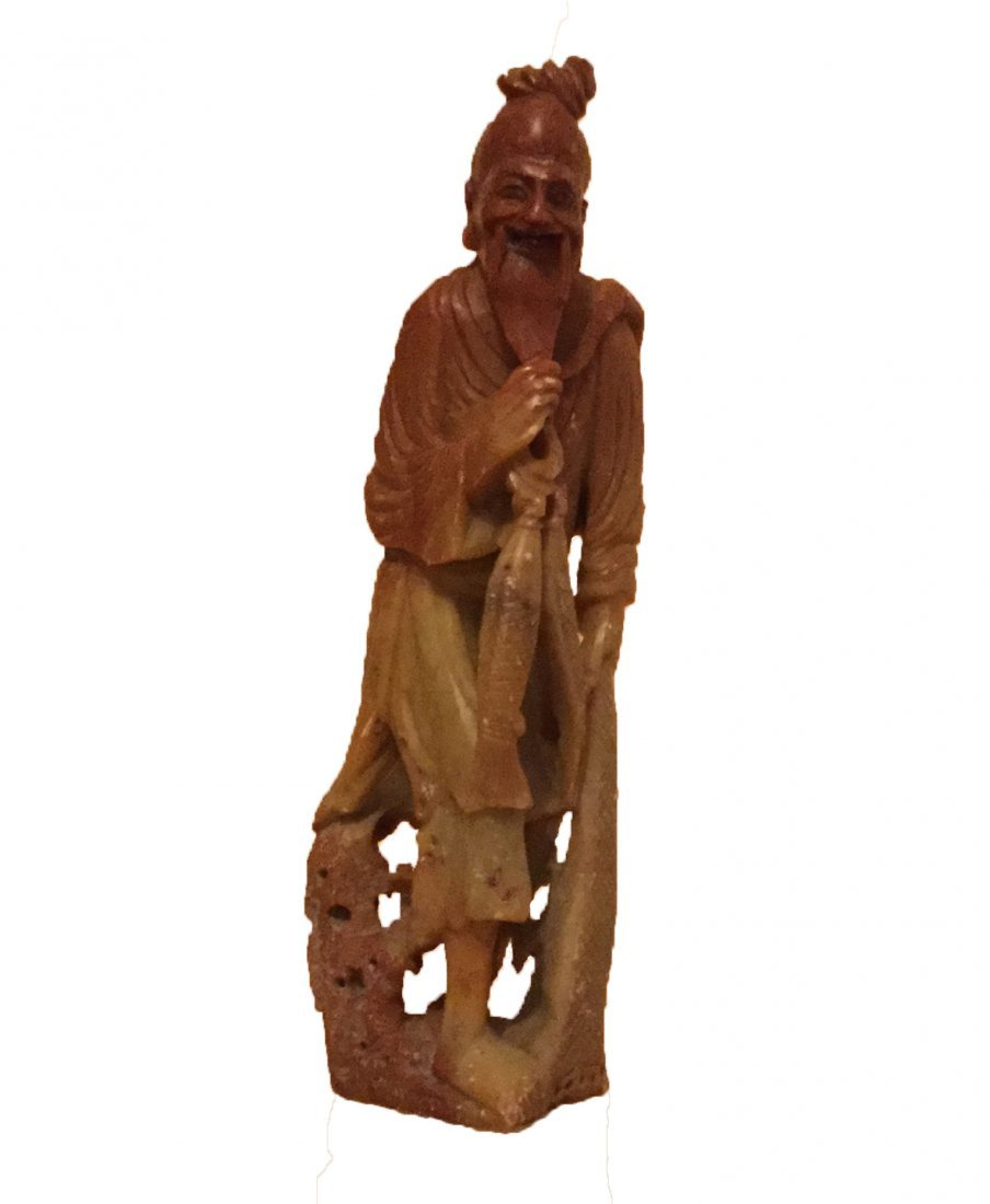 Chinese Stone Carved Statue of Old Fisherman