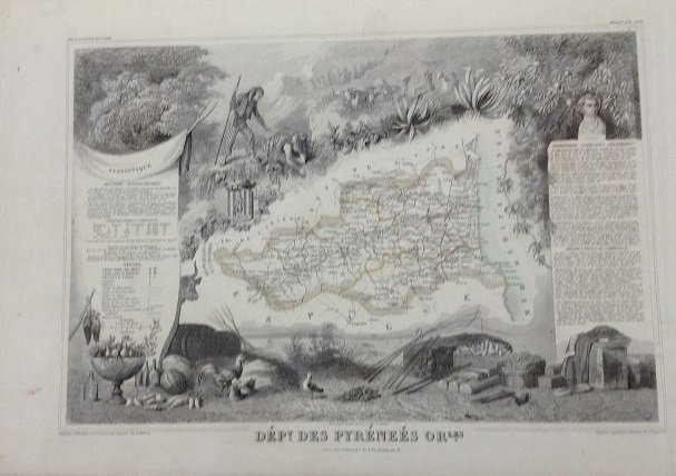 Map of the pyrenees 1851