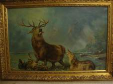 """""""Stag At Bay"""" oil on canvas"""