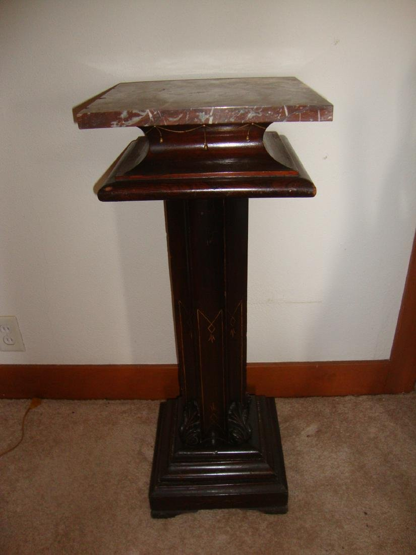 Walnut chocolate marble top stand