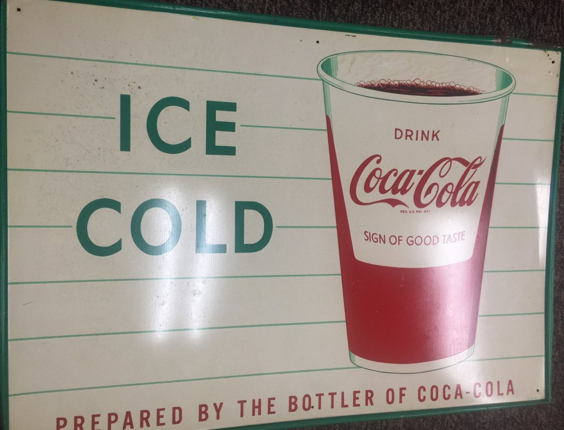 Ice Cold Coca-Cola Cup Sign