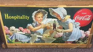 Very Rare Large Coca-Cola Wood Frame Sign