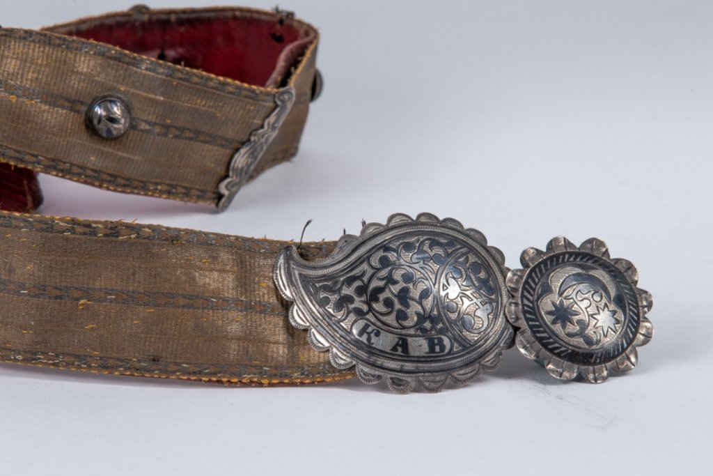 CAUCASIAN BELT WITH SILVER BUCKLE, 19TH C.