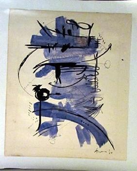 Georges Mathieu - Composition Watercolor