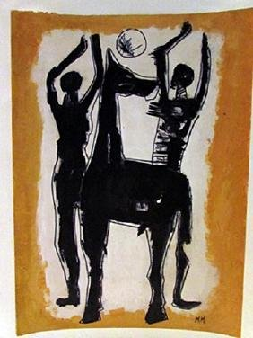 Marino Marini - Two Man with Horse Watercolor