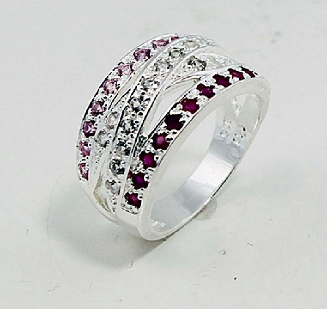 SILVER RING WITH RUBY AND PINK SAPPHIRE