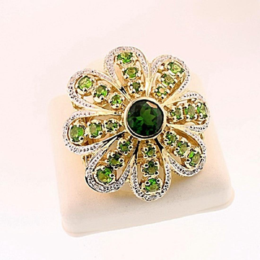 SILVER RING WITH CHROME DIOPSIDE AND DIAMOND