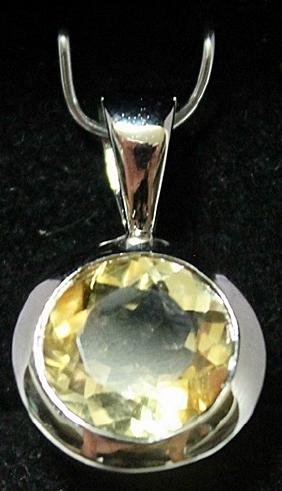 Beautiful Sterling Silver Lab Golden Citrine Pendant.