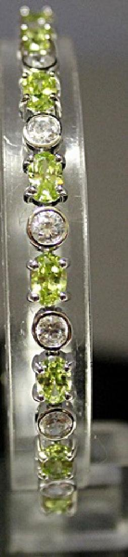 Very Fancy Sterling Silver Lab White Sapphire & Peridot