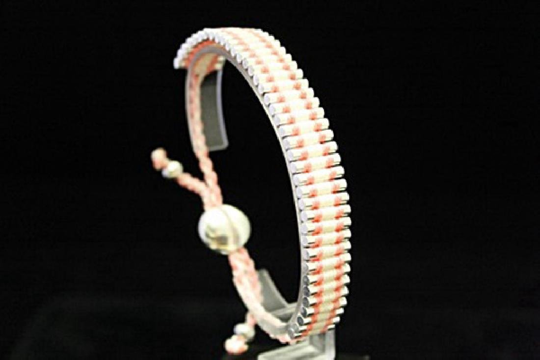 Exquisite Links London Pink & White Silver Bracelet