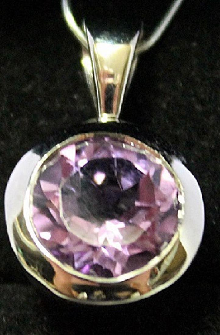 Fashionable Sterling Silver Lab Tanzanite Pendant.