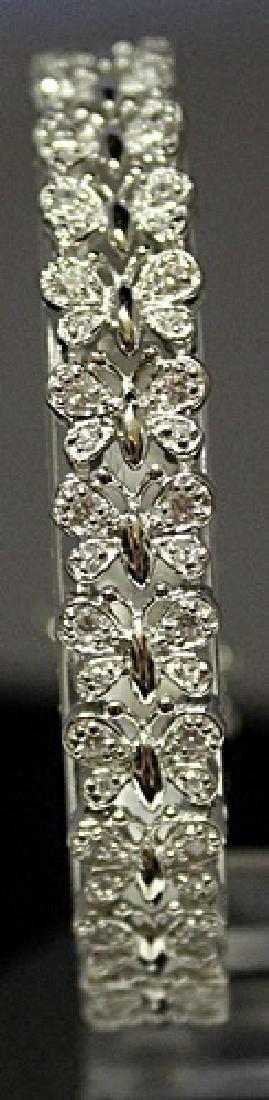 Fancy Sterling Silver Lab White Topaz Bracelet. (143B)