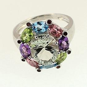 SILVER RING WITH GREEN AMETHYST AND MULTIGEMS