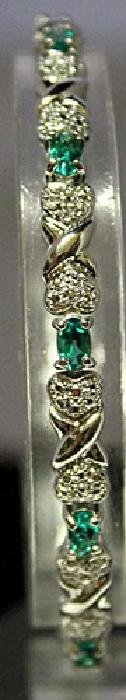 Fancy Sterling Silver Lab Emerald & White Topaz