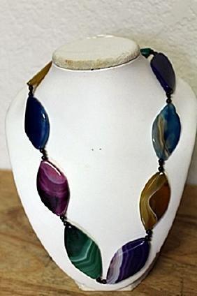 Tri-color Amethyst/Quartz Necklace