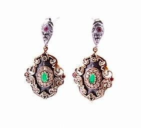 SILVER EARRING WITH MARCASITE AND SEMI PRECIOUS STONES