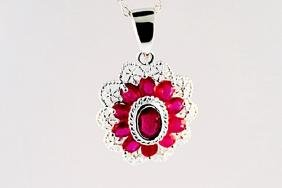 SILVER PENDANT WITH RUBY
