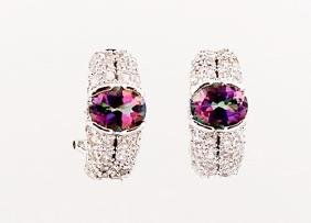 SILVER EARRING WITH MYSTIC TOPAZ AND WHITE TOPAZ