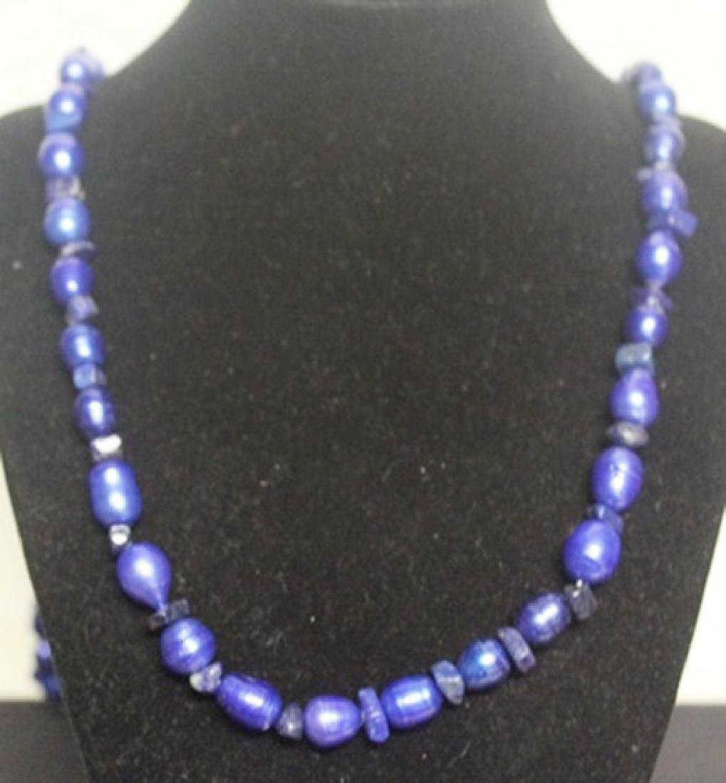 Gorgeous Blue Pearl & Lupis Necklace (55ZF)