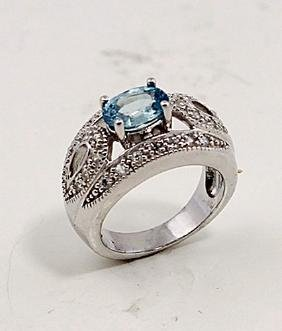 SILVER RING WITH BLUE ZIRCON AND WHITE ZIRCON