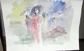 Signed Pino Watercolor