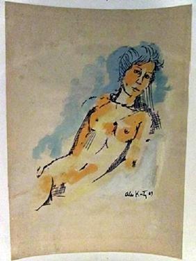 Alex Katz - Naked Woman Watercolor