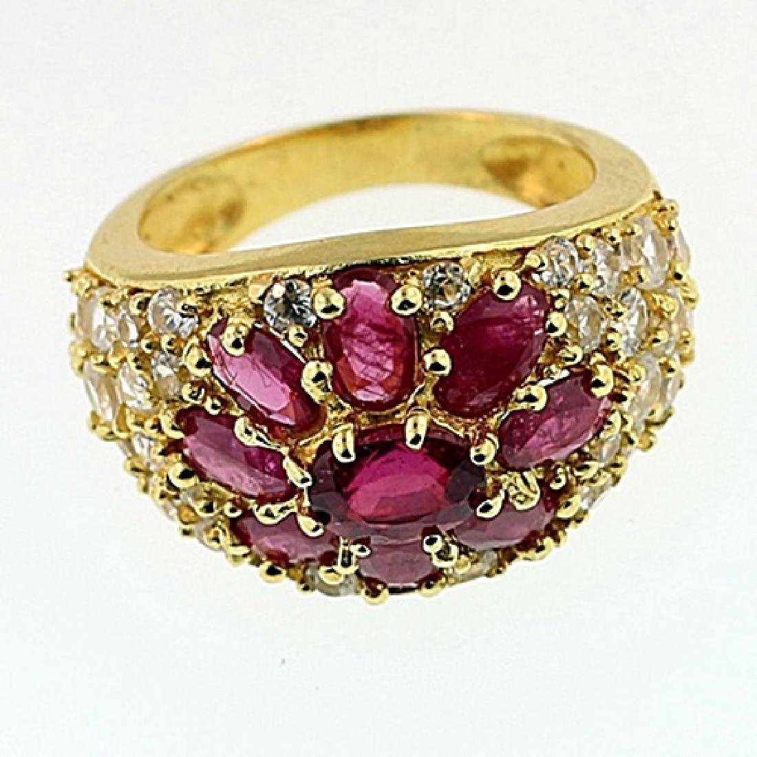 SILVER RING WITH RUBY AND WHITE TOPAZ