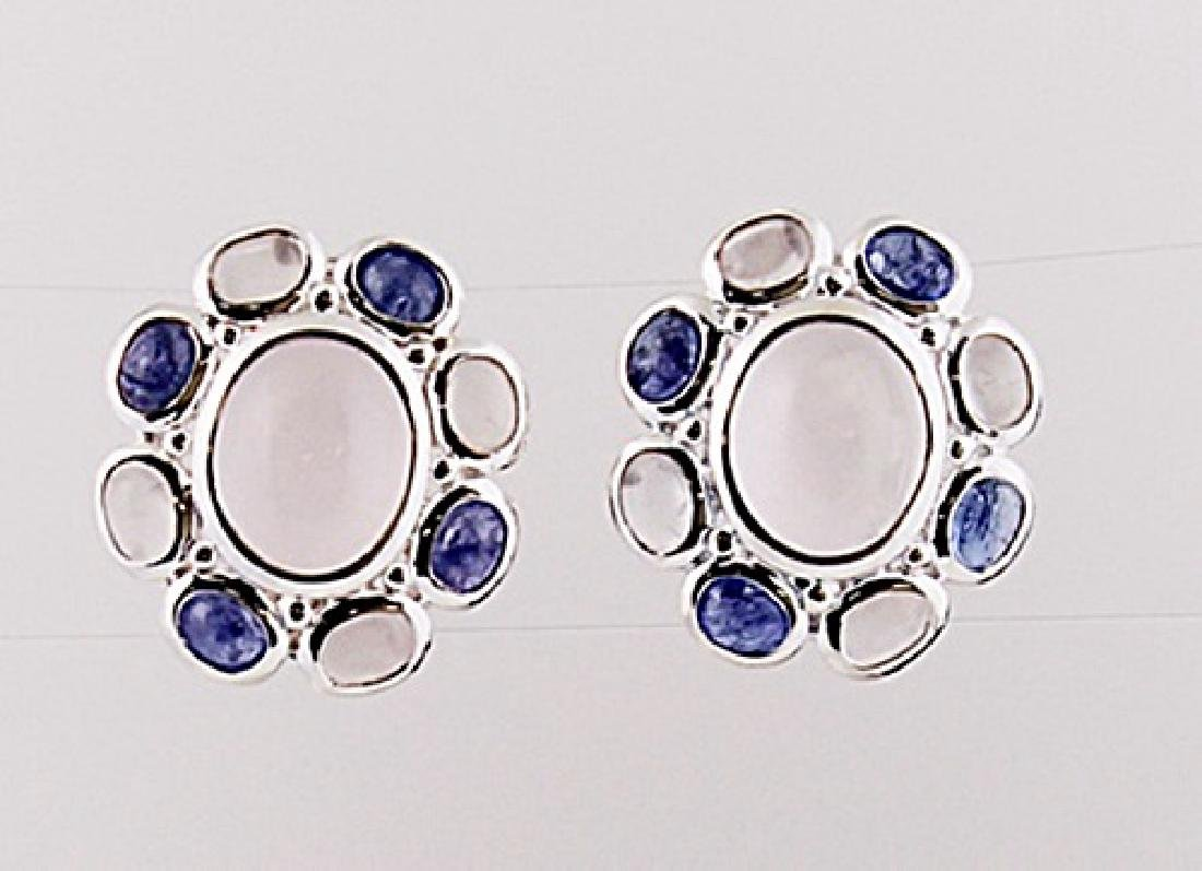 SILVER EARRING WITH ROSE QUARTZ AND TANZANITE