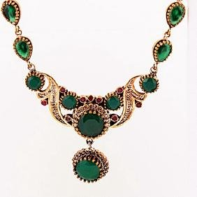 SILVER NECKLACE WITH MARCASITE AND SEMI PRECIOUS STONES