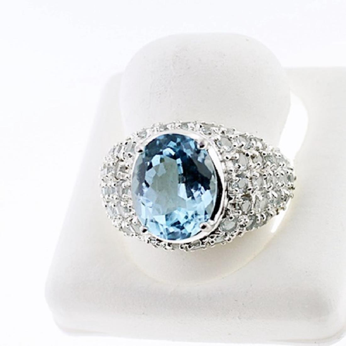SILVER RING WITH BLUE TOPAZ AND AQUA