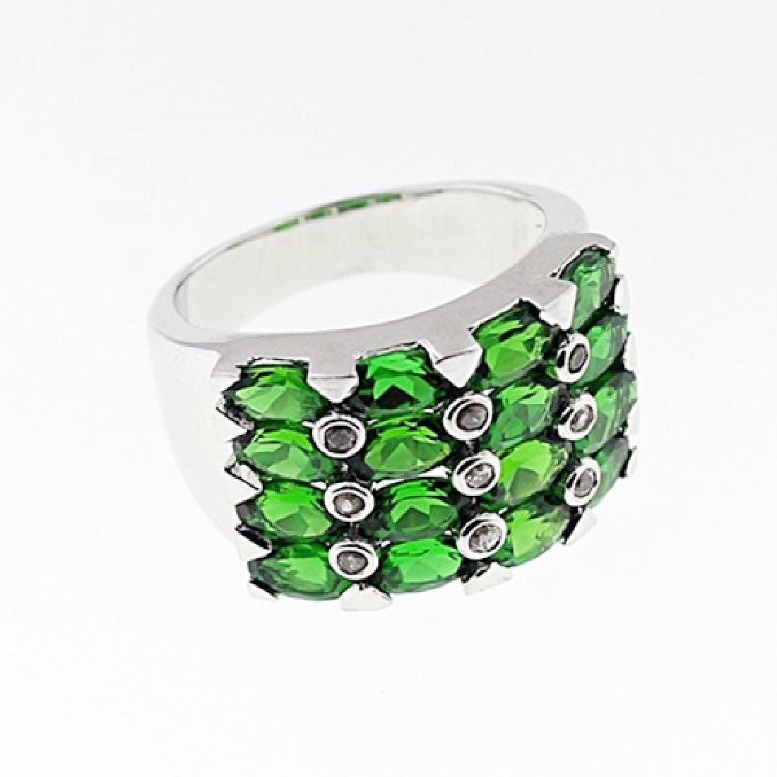 SILVER RING WITH CHROME DIOPSIDE AND WHITE ZIRCON