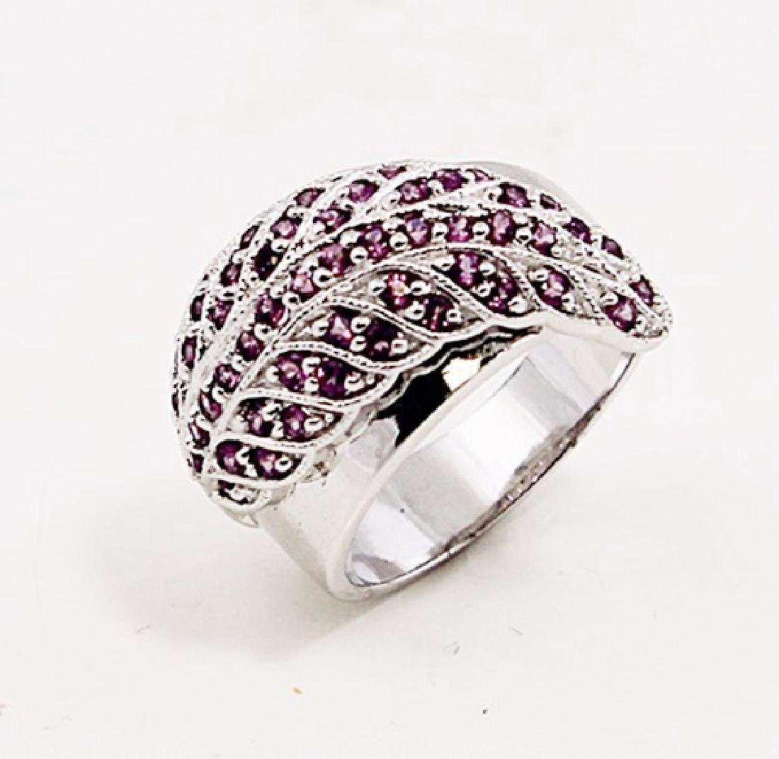 SILVER RING WITH RHODOLITE