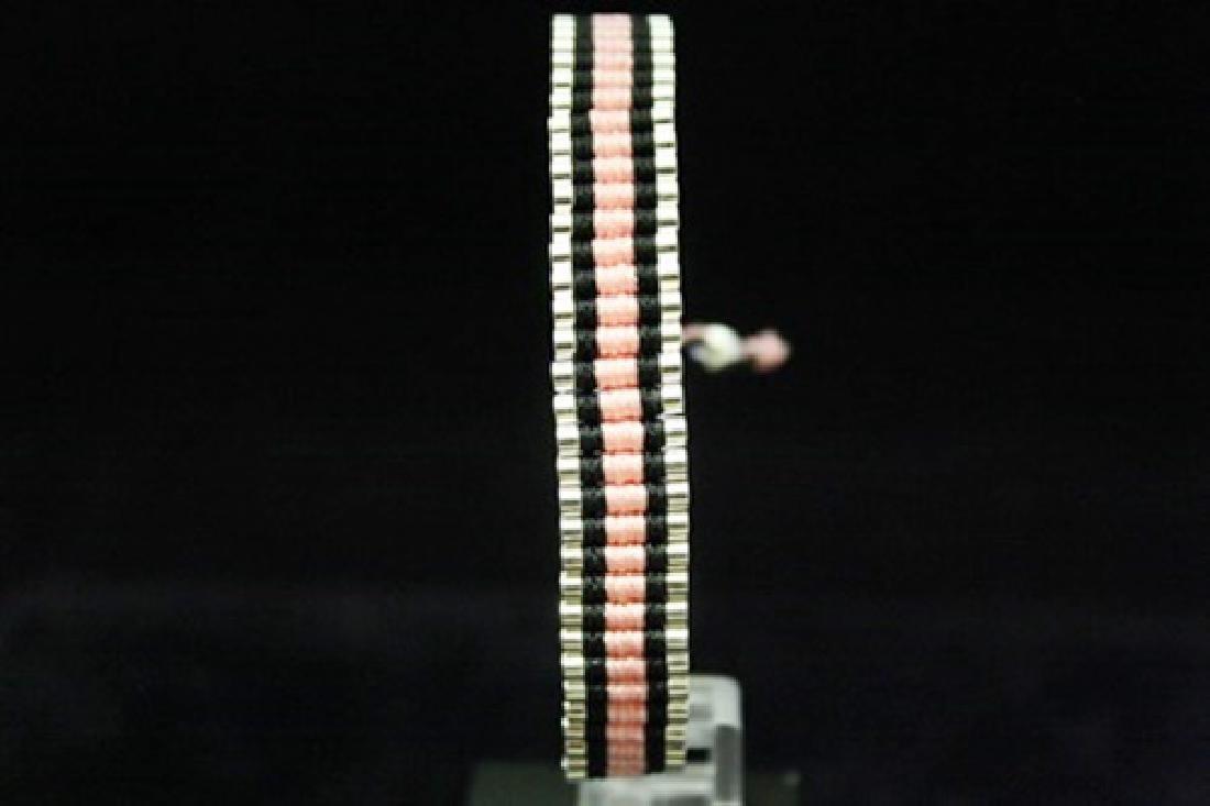 Exquisite Links London Pink & Black Silver Bracelet
