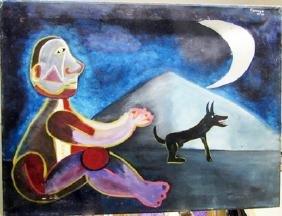 Rufino Tamayo - Boy With Dog 1950 Oil On Canvas