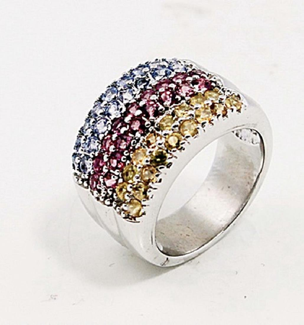 SILVER RING WITH YELLOW SAPPHIRE, PINK TOURMALINE AND
