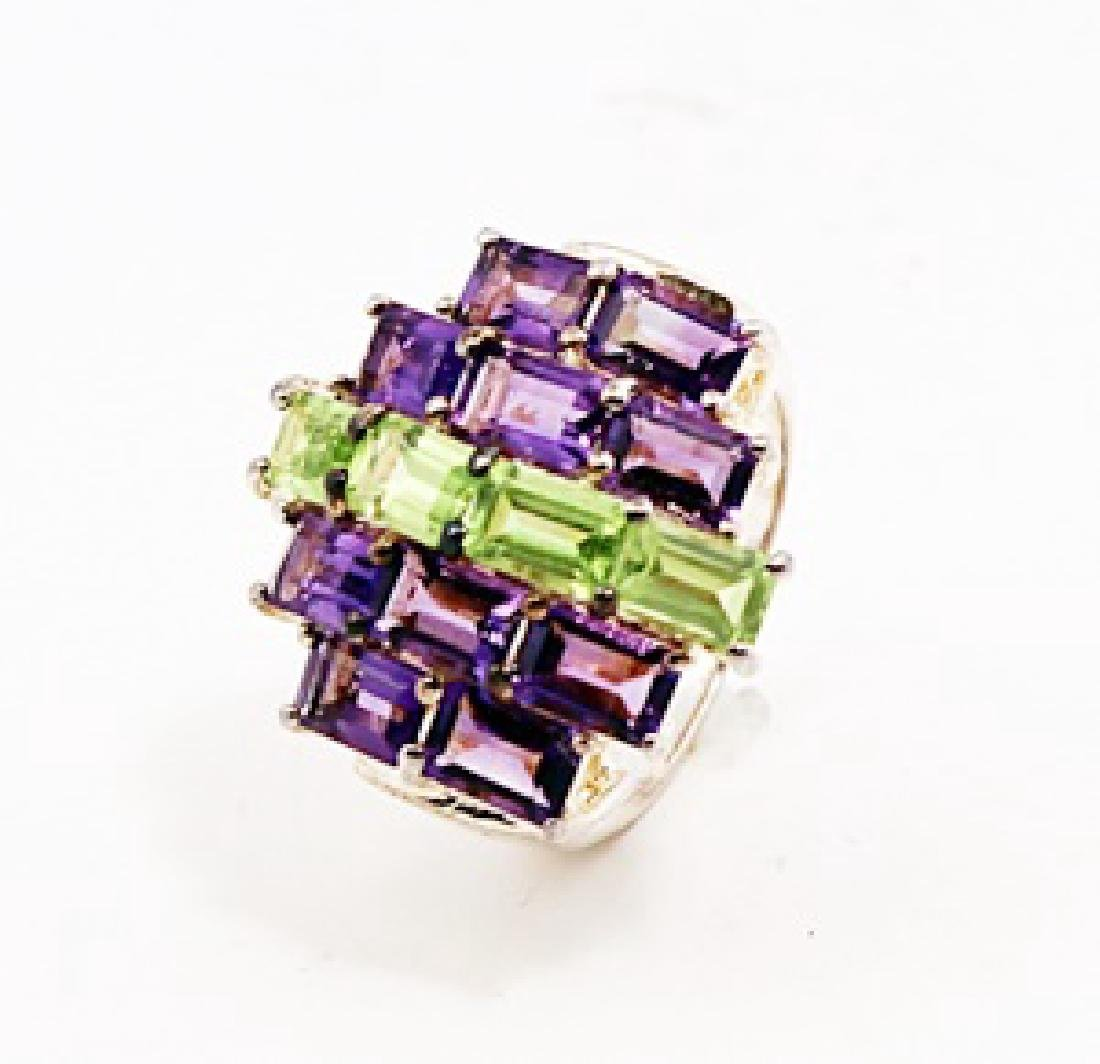 SILVER RING WITH AMETHYST AND PERIDOT