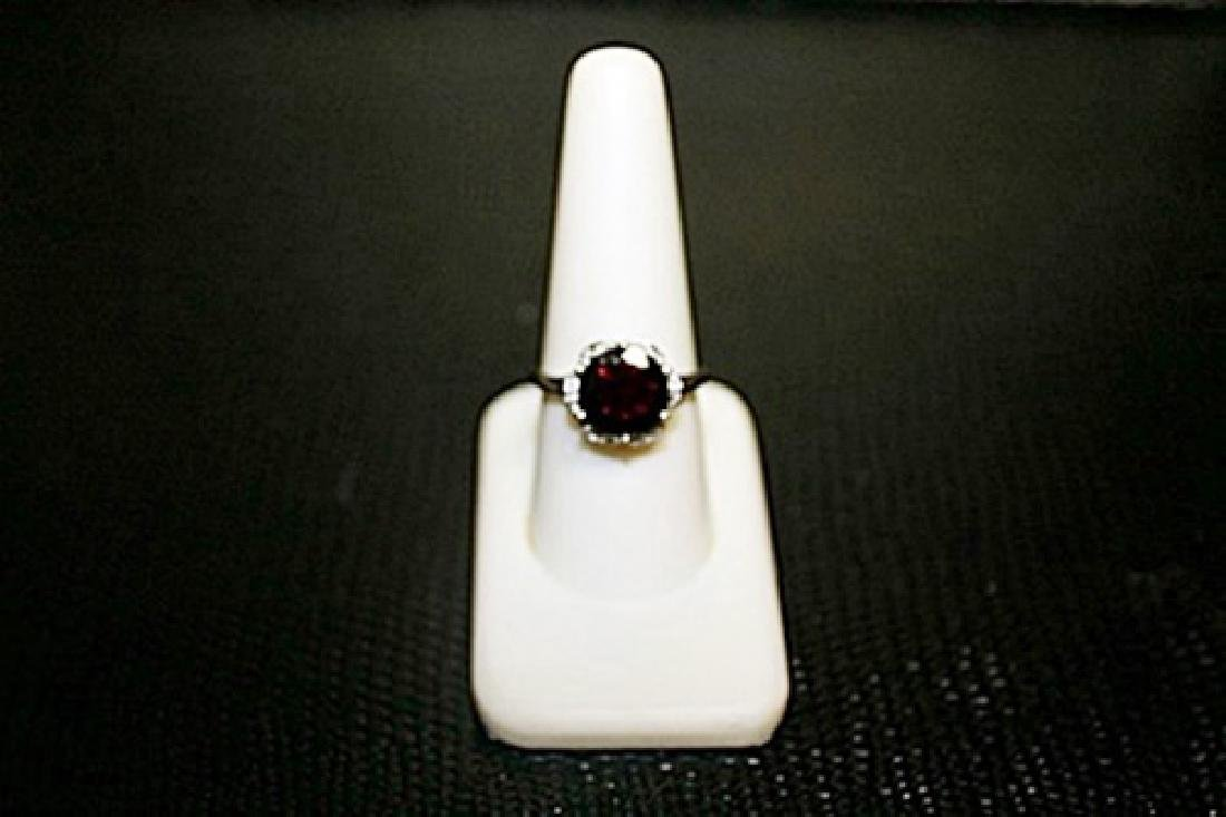Fancy Lady's White Gold over Silver Rose Garnet &