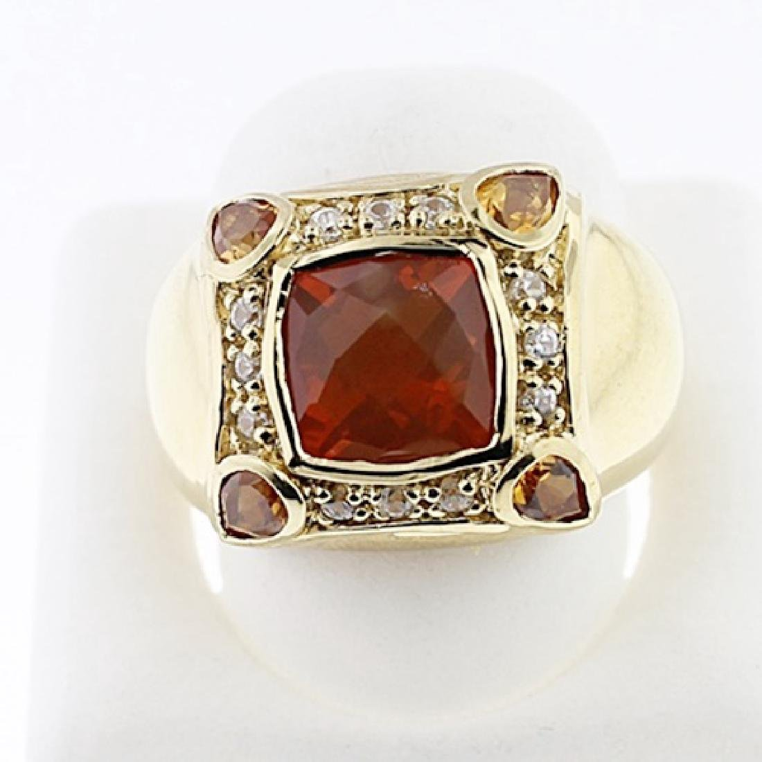SILVER RING WITH FIRE OPAL, CITRENE AND WHITE ZIRCON