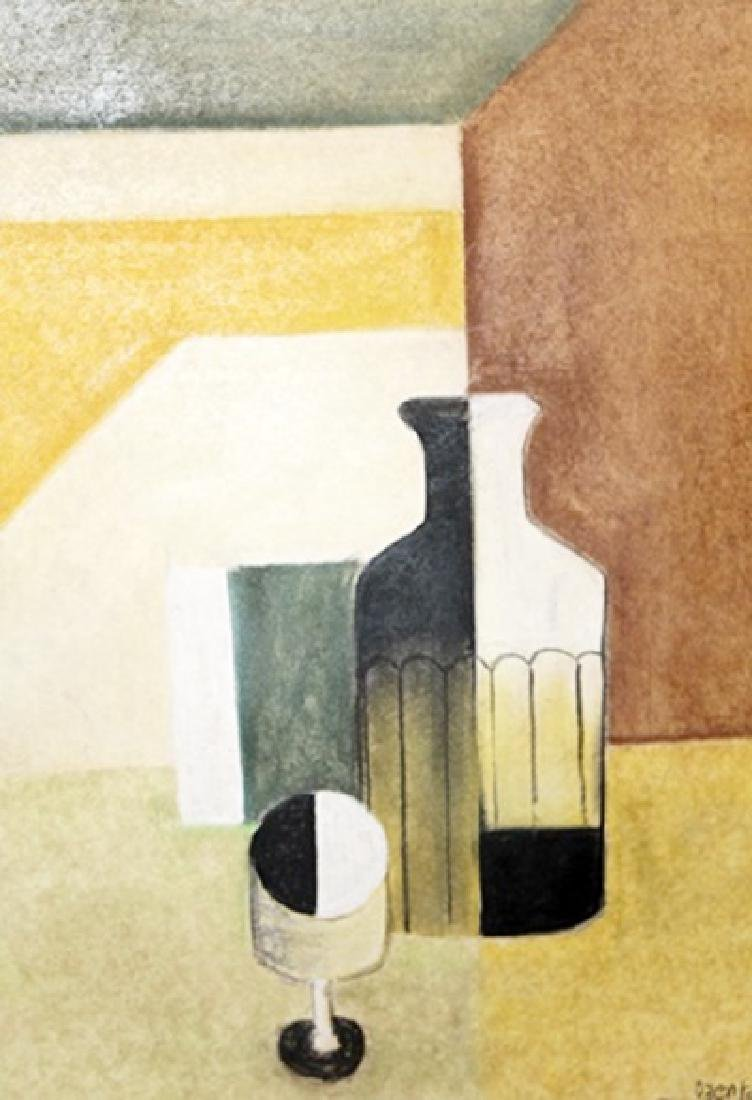 Bottle With Cup - Amedee Ozenfant - Pastel on paper