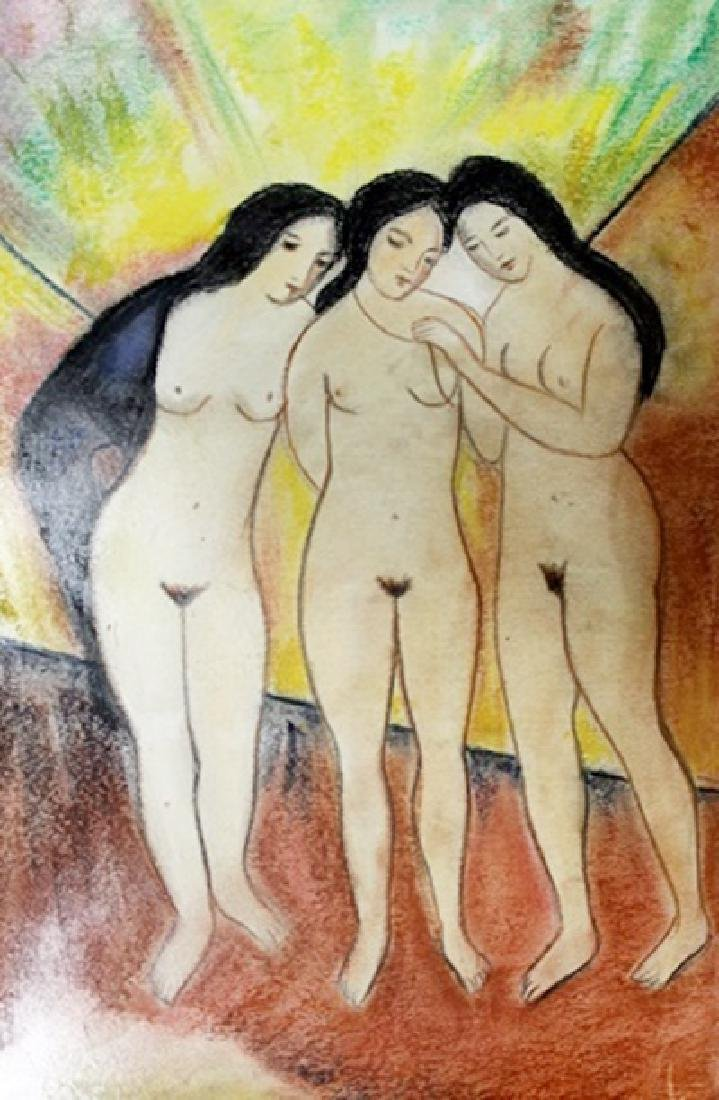 Three Womans - August Macke - Pastel On Paper