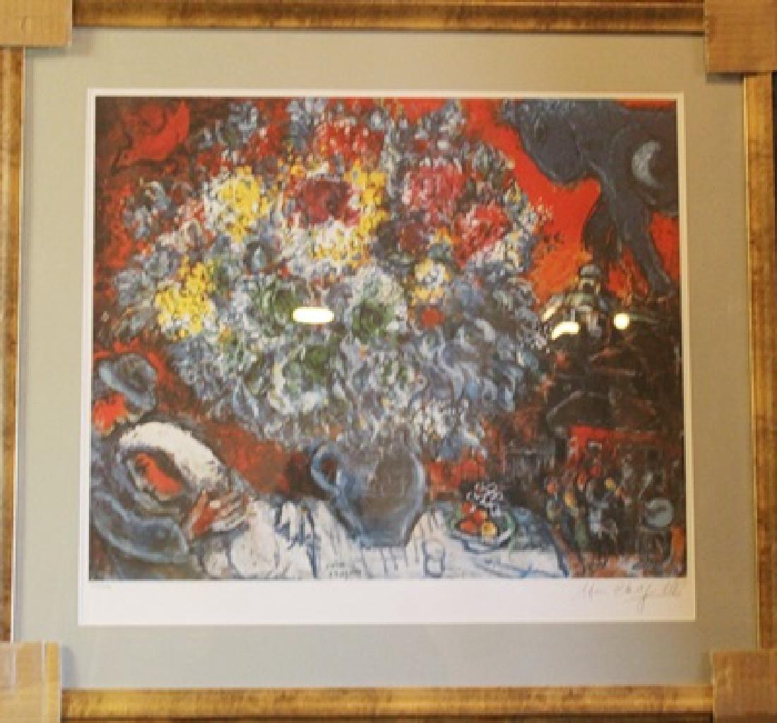 Framed Lithograph Marc Chagall - BOUQUET DE FLEUR ET